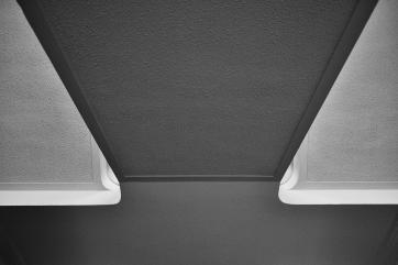 A photo highlighting where the wall meets the ceiling.